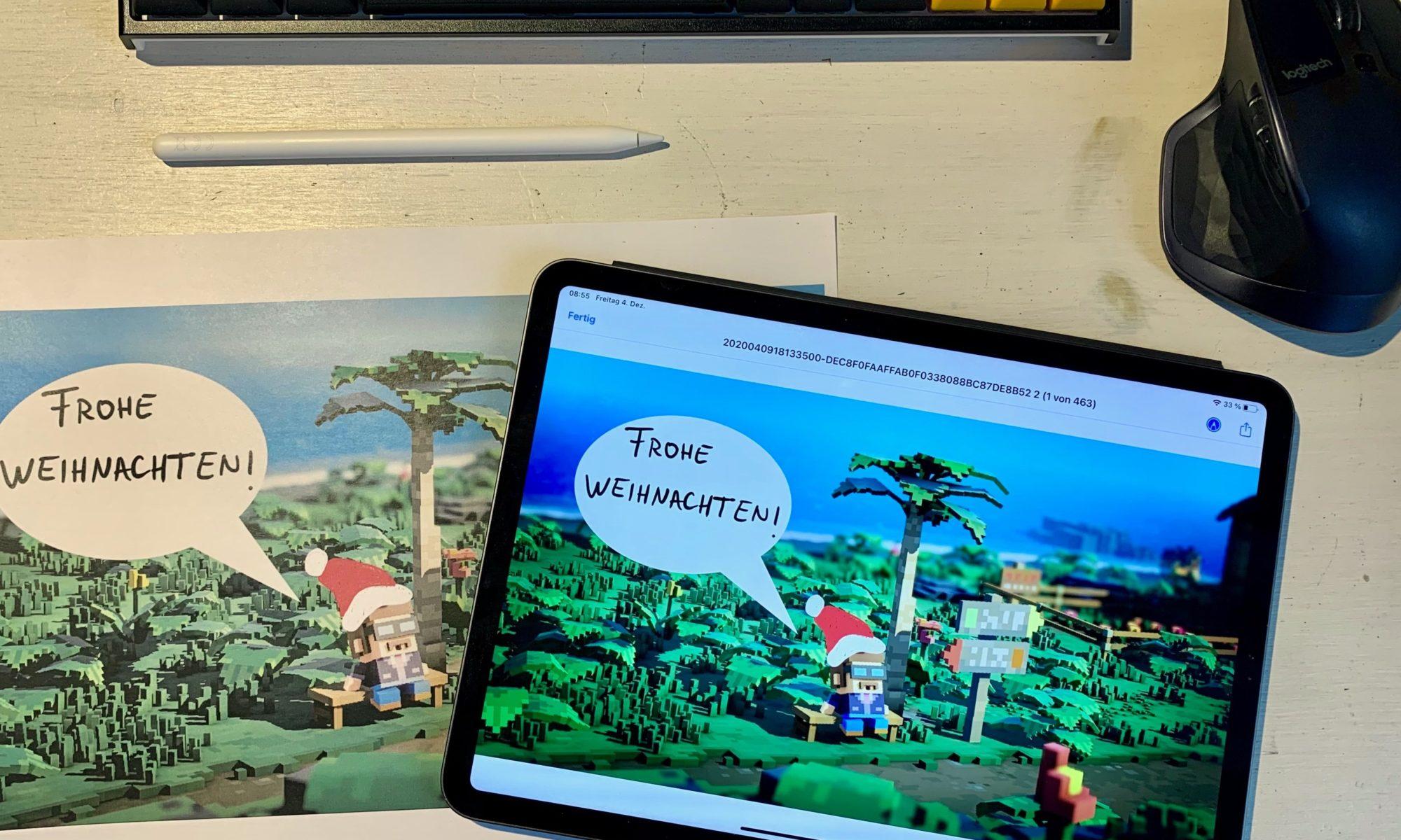Weihnachtspostkarte, erstellt aus Videospielscreenshot und Foto-App