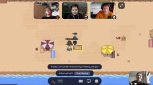Virtuelle Teamsitzung am Strand von Gather Town