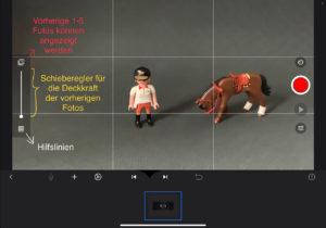 Oberfläche der Stop Motion Studio Pro App: Erklärung der Funktionen Hilfslinien, Schieberegler für Deckkraft, Anzeige vorherige Fotos