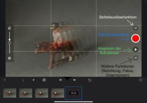 Oberfläche von Stop Motion Studio Pro: Erklärung der Buttons Selbstauslösefunktion, Aufnahmefunktion, Abspielen der Aufnahme und weitere Funktionen (Belichtung, Fokus, Greenscreen)