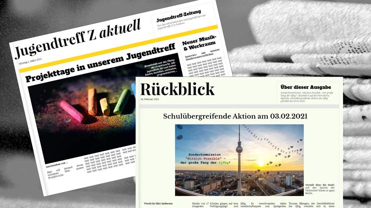 Beispiele Projektzeitungen, erstellt mit Book Creator Vorlagen