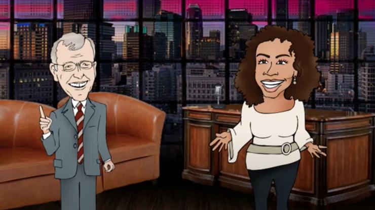 Ausschnitt aus einem mit Puppet Pals erstellten Mini-Trickfilm: Eine Moderatorin im Gespräch mit einem Mann