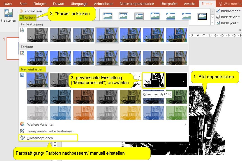 Bildfarbe ändern in PowerPoint
