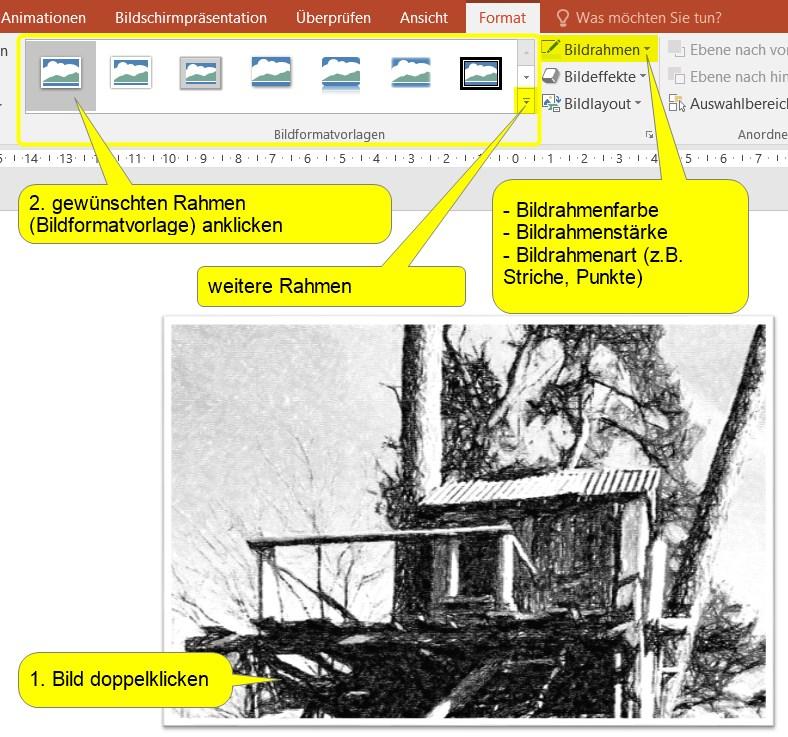 Bild einrahmen in Powerpoint