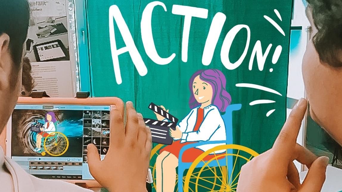 Foto mit Illustration: Jugendliche im Rollstuhl mit Filmklappe vor dem Greenscreen