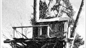Bildmotiv einer Holzhütte, bearbeitet mit Powerpoint