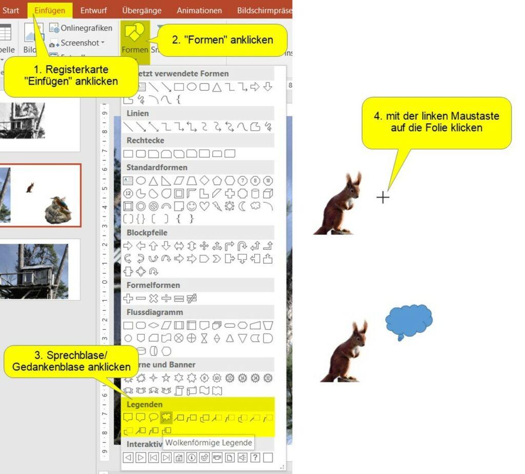 Sprechblase einfügen in PowerPoint