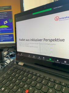 Laptop mit geöffneter Powerpoint-Folie
