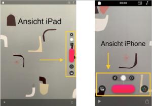 Unterschied der Anordnung von Schaltflächen beim iPad und beim iPhone