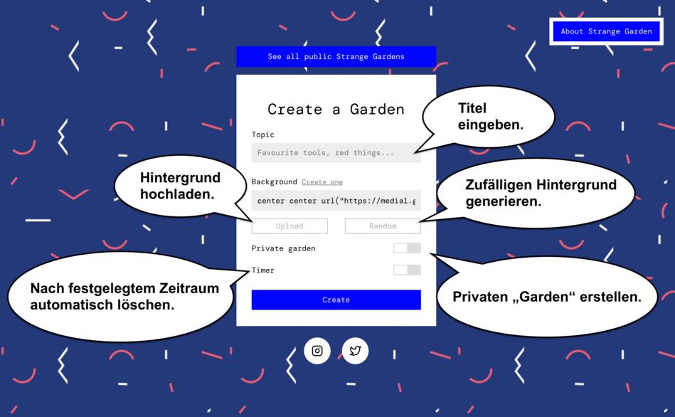 """Screenshot der Startseite von Strange Garden. Hier kann ein eigener """"Garten"""" erstellt werden."""