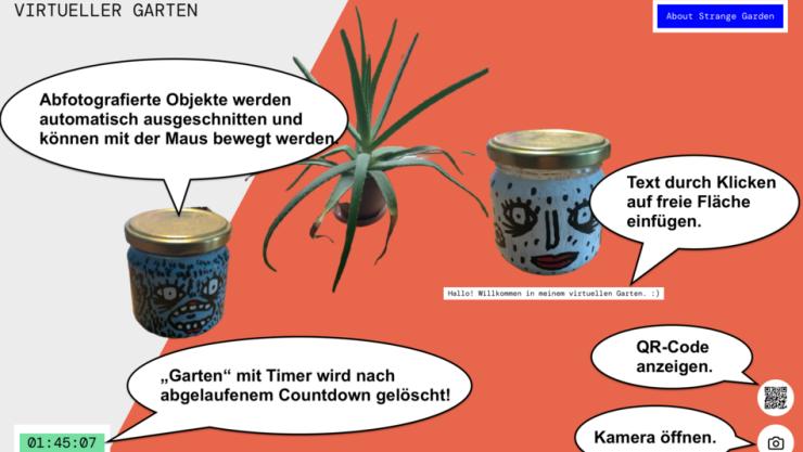 """Screenshot eines """"Gartens"""" mit einigen Objekten. Unten links befindet sich der Timer. Unten rechts sind Buttons um die Kamera oder den QR-Code aufzurufen."""