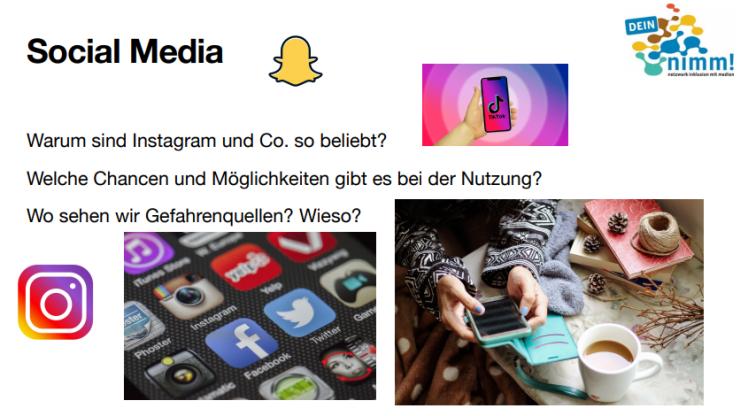 Präsentationsfolien mit Fragen: Warum sind Instagram und Co. so beliebt? Welche Chancen und Möglichkeiten gibt es bei der Nutzung? Wo sehen wir Gefahrenquellen? Wieso?