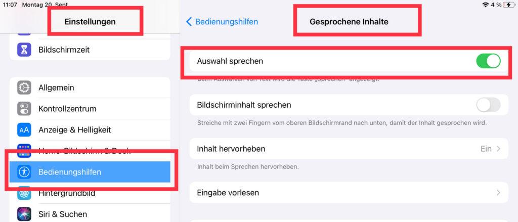 Aktivierung der in iOS-Geräte integrierten Bedienungshilfe Auswahl sprechen über die Einstellungen