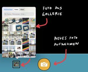 Screenshot aus Chatterpix: Ein Foto kann über die Kamera neu aufgenommen oder aus der Galerie hinzugefügt werden.