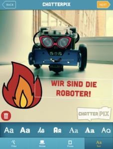 Screenshot aus Chatterpix: In einem letzten Schritt können Filter, Sticker, Rahmen oder Text zum Foto hinzugefügt werden.
